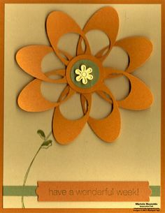 flower with oval and circle punch. If you don& have an oval punch use the Cricut to cut them out and you can make multiples. Paper Punch Art, Punch Art Cards, Cute Cards, Diy Cards, Origami, Circle Punch, Card Tutorials, Paper Cards, Flower Cards
