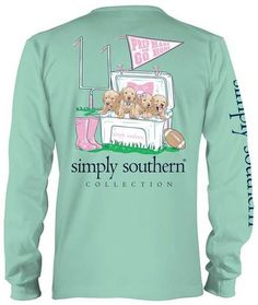 Classic Long Sleeve T-shirt from Simply Southern - Prep Hard or Go Home - Football and Dogs in a Cooler