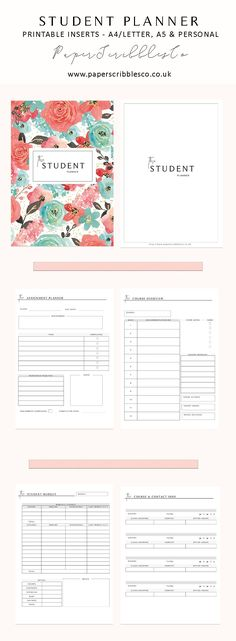 Academic Planner | Student Planner | College Planner | Printable Planners | Planning | Student Budget | College Planning | Planner Inserts | Printable Inserts | Planner Organization | Student Printable Template |