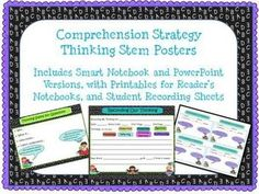 I want my students to spend most of their reading time actually reading, but I do need some written response. This set of 7 comprehension strategy thinking stems are perfect  for Reader's Workshop. They help cue students about how they can respond. There are also Smart Notebook and PowerPoint versions of the posters for use in mini-lessons, as well as two sizes of printable recording sheets for students to use with their independent reading. $
