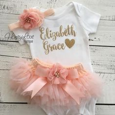 PERSONALIZED SET gold glitter shirt bodysuit, embellished peach ruffle tutu skirt bloomers, pearl rhinestone flower headband bow, newborn baby girl take home hospital outfit coming home set by HoneyLove Boutique