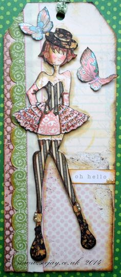 Absolutely love the stripes on this New Prima Doll Stamp - Pricilla Prima Paper Dolls, Prima Doll Stamps, Diva Dolls, Art Dolls, Tag Craft, Julie Nutting, Scrapbook Paper Crafts, Scrapbooking Ideas, Paper Crafting