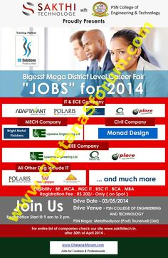 (FRESHERS) Walk-In at  'POLARIS | ADAPTAVANT | QMAX | UPASANA ENGG | MONAD DESIGN - MEGA JOB FAIR'  2013 / 2014 Passout : Multiple MNC Companies  500+ Openings : On 3 May 2014 at Tamilnadu   For more information visit: www.recruitment180.com http://recruitment180.com/news/493/freshers-walk-in-polaris-adaptavant-qmax-upasana-engg-monad-design-mega-job-fair-2013-2014-passout-multiple-mn