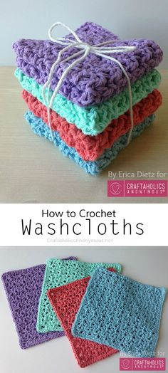 Crochet Diy How to Crochet Washcloths using the Blossom stitch Crochet Diy, Crochet Gratis, Crochet Home, Learn To Crochet, Tutorial Crochet, Diy Tutorial, Crochet Tutorials, Crochet Projects To Sell, Crochet Flower