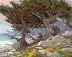 Oil painting art videos on how to paint water, trees and mountains in the landscape from John Burton, a nationally acclaimed artist and workshop teacher Fantasy Landscape, Landscape Art, Landscape Paintings, Landscapes, Impressionist Landscape, Impressionism, Pebble Beach, Pebble Art, Painting Competition