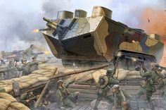Tanque Saint Chamond asaltando unas trincheras alemanas, por cortesía de Vincent Wai. Más en www.elgrancapitan.org/foro