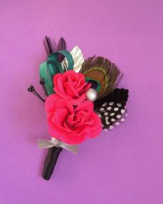 Hot Pink Wedding Boutonniere with Peacock Feather by ekaminsk, $12.00