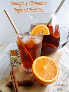 Orange and Cinnamon Infused Iced Tea via thefrugalfoodiemama.com- a low calorie, holiday perfect beverage! #CrystalLightWM #MC #sponsored