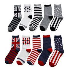 1 Pair Soft Socks Blue Eye Cotton Socks Creative Colorful Striped Dot Pattern Jacquard Art Casual Socks For Men 19cm Easy To Use Men's Socks