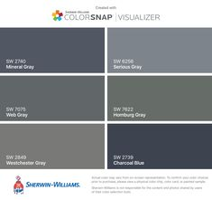 I found these colors with ColorSnap® Visualizer for iPhone by Sherwin-Williams: Mineral Gray (SW Web Gray (SW Westchester Gray (SW Serious Gray (SW Homburg Gray (SW Charcoal Blue (SW Exterior Gray Paint, Exterior Paint Colors For House, Paint Colors For Home, Gray Exterior Houses, Exterior Colors, Exterior Design, Peppercorn Sherwin Williams, Dovetail Sherwin Williams, Blue Gray Paint Colors