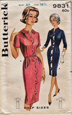 Butterick 9831 / Vintage 1960s Sewing Pattern / Dress / Bust