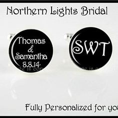 Personalized mens Cuff Links Groom Gift Names and Wedding Date and initials Gift Bridal Party cufflinks Groomsman Bride gift to groomsmen by NorthernLightsBridal on Opensky