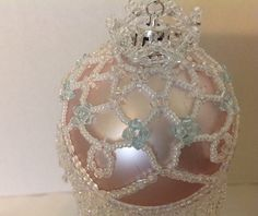 Beaded Christmas ornament cover/finished /Victorian fringe