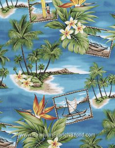 Hawaiian fabric: Pacific islands, blue ocean and floral. High quality cotton fabric. By HawaiianFabricNBYond.etsy.com