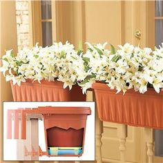 """Add the beauty of potted plants and flowers wherever you have a railing... without tools, drilling or mess! Innovative design adjusts to fit railings 1"""" to 4"""" wide. Clever, hidden lower arm keeps planter level. Built-in bottom water reservoir holds excess water. Heavy duty, weather-tough material. 19 3/8"""" x 7 5/8"""" x 6 3/4"""" H."""