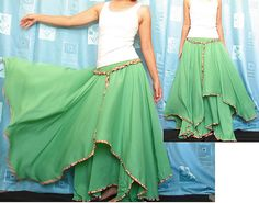 Circle Maxi Skirt ...... Cotton Hippie Green Women Long Skirt