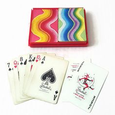 Colorful Yarn Vintage Double Deck Playing Cards with Case by Stardust Rainbow Knitting Design Pink Blue Green Yellow by ThriftyTheresa