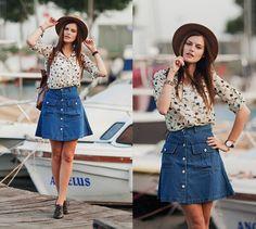 Get this look: http://lb.nu/look/7553682  More looks by Viktoriya Sener: http://lb.nu/viktoriyasener  Items in this look:  Dresslink Blouse, Romwe Skirt, Hotic Brogus, Asos Hat   #bohemian #casual #chic