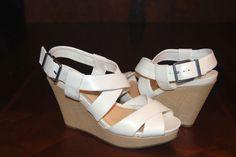 Gianni Bini White Strappy Raffia Wedge Sandals, Size 9 #GIANNIBiNI #PlatformsWedges