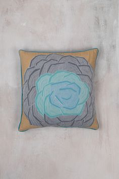 Grey Rose Tulle Cushion Cover