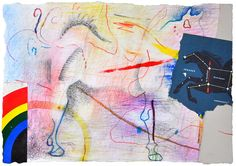 "Pegasus / Colored pencil, ink, pastel, watercolor pencil, and collage on paper / 11 x 8"" / 2009"