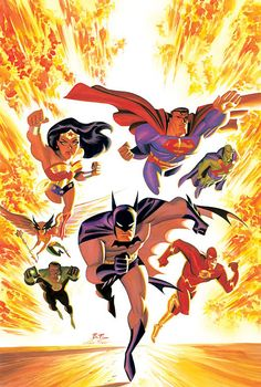 Justice League - Bruce Timm line art - lightboxed painting by Alex Ross