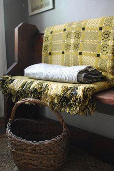 J283: Vintage Welsh Blanket: Mustard & Black