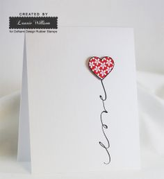 Very simple Valentines Day card created by Laurie Willison using DeNami Design Rubber Stamps