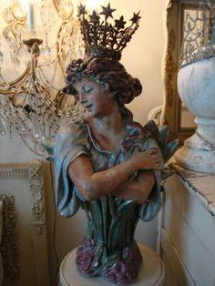 Art Nouveau chalkware bust from Paris Panache Antiques / Etsy