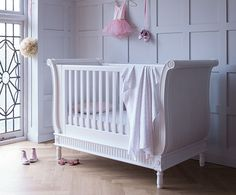 The belle sleigh cot bed offers a french simplicity unrivaled by any other cot company.The cot features end panels with beautiful upholstered sides, using wipe clean faux suede fabric. Baby Room Decor, Nursery Room, Nursery Ideas, Nursery Decor, Luxury Nursery, Nursery Furniture, Kids Furniture, Elegant Sofa