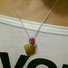 Jersey shore seaglass original brown necklace This is an original sea glass creation made with brown,seaglass and a pink bead on a silver chain.  Falls mid neck and looks good with tons of outfits! JerseyShoreSeaglass Jewelry Necklaces