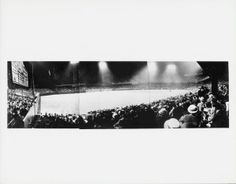 Panoramic night view of Sportsmans Park (pieced together from three photos). View from left field stands across to right field. First night game, June 12, 1940. St. Louis Browns losing to Cleveland.