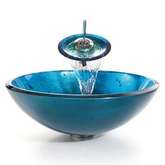 Round Blue Tempered Glass Vessel Bathroom Sink - Quality House