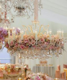 chandelier Jeff Langhorne Photography and red floral architecture Shabby Chic Mode, Estilo Shabby Chic, Shabby Chic Cottage, Vintage Shabby Chic, Shabby Chic Style, Shabby Chic Chandelier, Floral Chandelier, Chandelier Wedding, Fru Fru