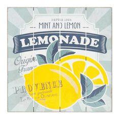 Tableau en sapin imprimé citrons 40x40cm LEMONADE