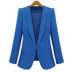 Polyester, Cotton Blue Long Sleeve Lapel One Covered Button Design Blazer style 819zz001-Blue in Indressme