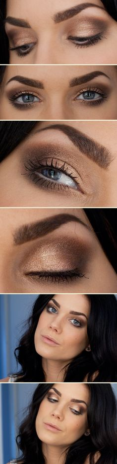 Linda Hallberg: Golden Glitter. Really pretty soft, smokey look. Play around with wet shadow on ther center of your eyelid to get an even better sheen in your application.