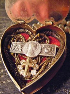 Religious reliquary necklace heart locket faux by madonnaenchanted, $99.00