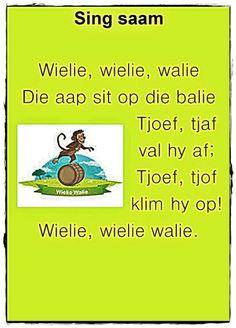 U Preschool Learning, Preschool Activities, Baby Boys, Animals Name In English, Afrikaans Language, Old Nursery Rhymes, Kids Poems, Children Songs, Afrikaanse Quotes