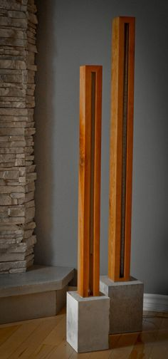 Wood and Light Sculpture Stehlampe Kostenloser Versand Deutschland Concrete Light, Concrete Lamp, Concrete Projects, Diy Wood Projects, Diy Lampe, Wooden Lamp, Diy Holz, Aesthetic Room Decor, Wood Sculpture