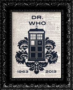 Doctor Who 50th Anniversary Print - Dr. Who David Tennant - Matt Smith - Tom Baker - Vintage Dictionary Print  Book Page Art on Etsy, $8.98