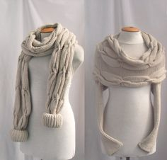 Sweater / scarf with sleeves at both ends in light by vinevirak