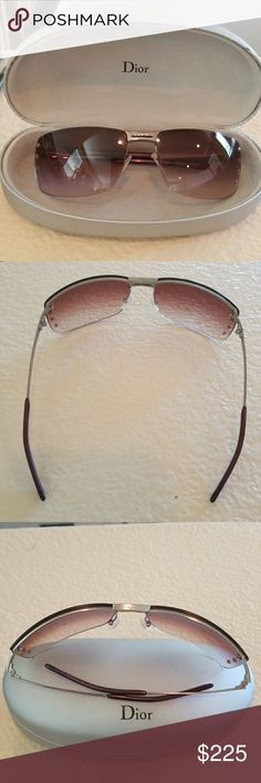 "GENUINE CHRISTIAN DIOR ADIORABLE 8 6LB1N SUNGLASSE Vintage genuine #Dior sunglasses bought from Dior Beverly Hills on Rodeo Drive. The glasses feature Purple gradient (ombre) lens with 4 small silver stars going down both sides. ""Dior"" is etched into both the front and top of the nose piece and also the outside of both arms. The glasses are vintage and gently used, they do have some light scratches the worst of which are pictured in photo #8. Dior Accessories Sunglasses"