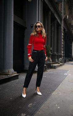 NYC fashion blogger wearing red Maggie Marilyn striped turtleneck Phillip Lim pinstriped stirrup pants white slide pumps silver disc earrings red crossbody bag black cat eye sunglasses