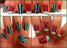 Watermelon edition nail design