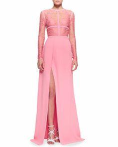 Elie Saab Lace-Top Slit Long-Sleeve Gown ~ Neiman Marcus