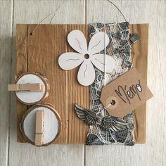 Déco sur vieux bois, mémo, nature,fleur en bois, by Dékaflore