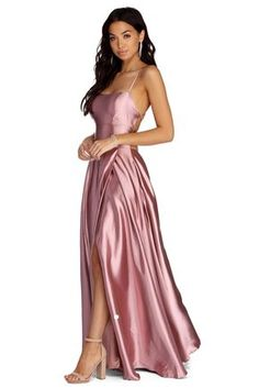 Anne Formal Lattice Satin Dress *the link in this pin is an affiliate link and I may benefit from your click Sparkly Prom Dresses, Grad Dresses, Satin Dresses, Formal Dresses, Long Satin Dress, Windsor Dresses Prom, Formal Wear, Mauve Dress, Silk Dress
