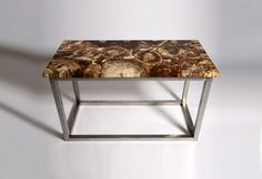 Large fossilised wood table on a stainless steel base. This table is made from slices of different petrified tree trunks.