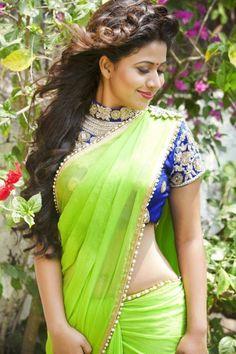 Telugu actress Manali rathod latest saree photoshoot stills. The heroine in awesome in plain and embroidery designer transparent sarees. Beautiful Girl Indian, Beautiful Saree, Beautiful Gorgeous, Simply Beautiful, Saree Hairstyles, Saree Photoshoot, Saree Models, Stylish Sarees, Sari